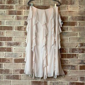 Dana Kay Cream Ruffle Maxi Skirt Size 12 NWT